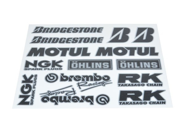 Stickerset van sponsoren: Bridgestone, Brembo ,NGK, Motul, etc.