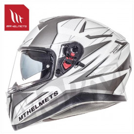 Helm MT Thunder 3 Sv Effect Wit/Zilver