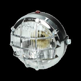 Tomos cross koplamp rond met grill en met een BA20D fitting. Bosatta f107