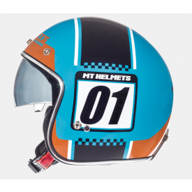 Helm MT Le Mans SV Numberplate blauw. Diverse Maten.