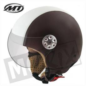 Helm MT Retro Leer Donker Bruin/Beige