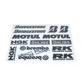 Stickerset van sponsoren: Bridgestone, Brembo ,NGK, Motul, etc.