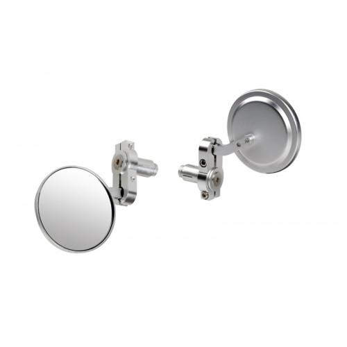 Bar end mirrors / spiegelset, rond met bevestiging om of in het stuur. Zilver.