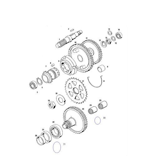 Moer M14x1 aandrijftandwiel (versnellingsbak)