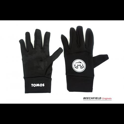 Paar warme softshell handschoenen met logo Tomos  Maat Large Bediening smartphone / touchscreen werkt met handschoenen aan.